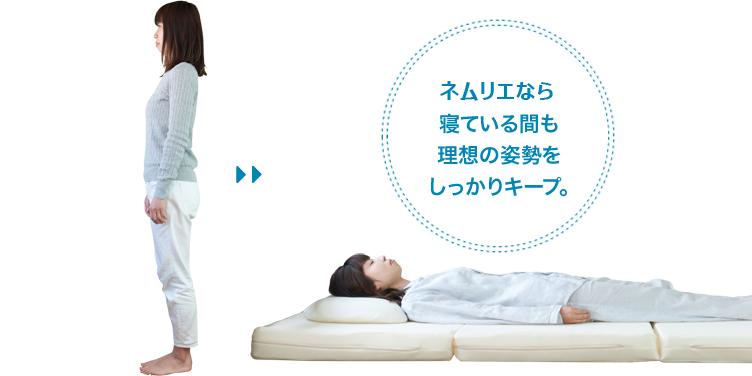 寝ている間も理想の姿勢をしっかりキープ。