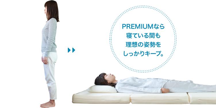 PREMIUMなら寝ている間も理想の姿勢をしっかりキープ。