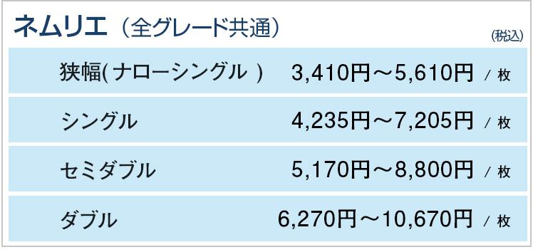ネムリエシリーズ交換用中芯価格表